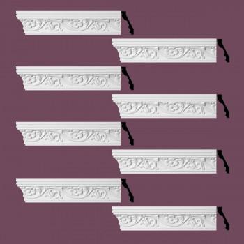 Renovators Supply Ornate Cornice White Urethane Sainte Anne Design 8 Pieces Totaling 768 Length White PrePrimed Urethane Crown Cornice Molding Cornice Crown Home Depot Ekena Millwork Molding Wall Ceiling Corner Cornice Crown Cove Molding