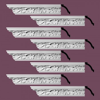 Renovators Supply  Ornate Cornice White Urethane Design 8 Pieces Totaling 752 Length White PrePrimed Urethane Crown Cornice Molding Cornice Crown Home Depot Ekena Millwork Molding Wall Ceiling Corner Cornice Crown Cove Molding