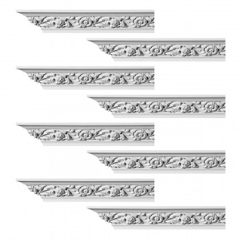 <PRE>Renovator's Supply Ornate Cornice White Urethane Ainsley Design 8 Pieces Totaling 752inch Length</PRE>zoom1