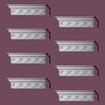 Renovators Supply Ornate Cornice White Urethane Hastings On Hudson  8 Pieces Totaling 768 Length White PrePrimed Urethane Crown Cornice Molding Cornice Crown Home Depot Ekena Millwork Molding Wall Ceiling Corner Cornice Crown Cove Molding