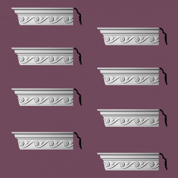 "spec-<PRE> Ornate Cornice White Urethane Lilith Design 8 Pieces Totaling 768"" Length</PRE>"