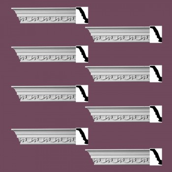 Renovators Supply Ornate Cornice White Urethane Cheshire Design 8 Pieces Totaling 752 Length White PrePrimed Urethane Crown Cornice Molding Cornice Crown Home Depot Ekena Millwork Molding Wall Ceiling Corner Cornice Crown Cove Molding