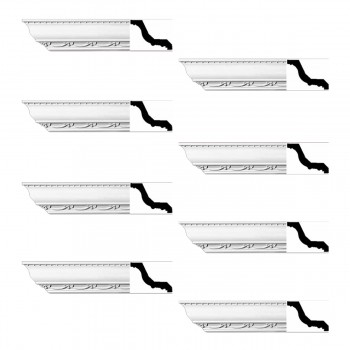Renovators Supply Ornate Cornice White Urethane Williamstown Design 8 Pieces Totaling 752 Length White PrePrimed Urethane Crown Cornice Molding Cornice Crown Home Depot Ekena Millwork Molding Wall Ceiling Corner Cornice Crown Cove Molding