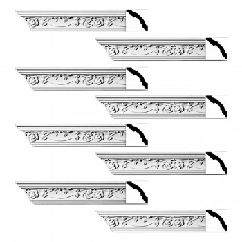 Renovators Supply Ornate Cornice White Urethane Huntington Design 8 Pieces Totaling 752 Length White PrePrimed Urethane Crown Cornice Molding Cornice Crown Home Depot Ekena Millwork Molding Wall Ceiling Corner Cornice Crown Cove Molding