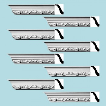 Renovators Supply Ornate Cornice White Urethane Williamsburg Design 8 Pieces Totaling 752 Length White PrePrimed Urethane Crown Cornice Molding Cornice Crown Home Depot Ekena Millwork Molding Wall Ceiling Corner Cornice Crown Cove Molding