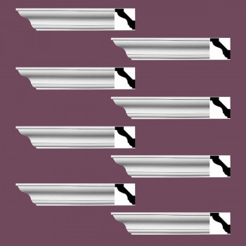 "spec-<PRE> Simple Cornice White Urethane Halifax Design 8 Pieces Totaling 768"" Length</PRE>"