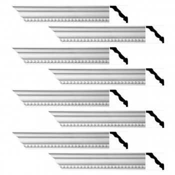 Renovators Supply Ornate Cornice White Urethane Chilton Springs  8 Pieces Totaling 752 Length White PrePrimed Urethane Crown Cornice Molding Cornice Crown Home Depot Ekena Millwork Molding Wall Ceiling Corner Cornice Crown Cove Molding