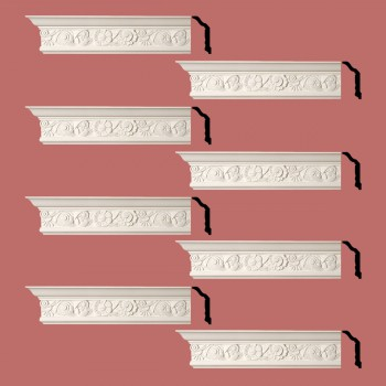 Renovators Supply Cornice White Urethane Colman Ornate Design 8 Pieces Totaling 768 Length White PrePrimed Urethane Crown Cornice Molding Cornice Crown Home Depot Ekena Millwork Molding Wall Ceiling Corner Cornice Crown Cove Molding