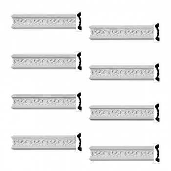 Renovators Supply Crown Molding White Urethane Beacon Hill Ornate  8 Pieces Totaling 768 Length White PrePrimed Urethane Crown Cornice Molding Cornice Crown Home Depot Ekena Millwork Molding Wall Ceiling Corner Cornice Crown Cove Molding