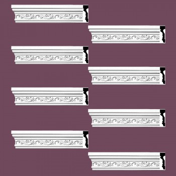 <PRE>Renovator's Supply Crown Molding White Urethane Savanah Design 8 Pieces Totaling 752inch Length</PRE>zoom2