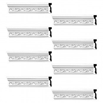 <PRE>Renovator's Supply Crown Molding White Urethane Savanah Design 8 Pieces Totaling 752inch Length</PRE>zoom1