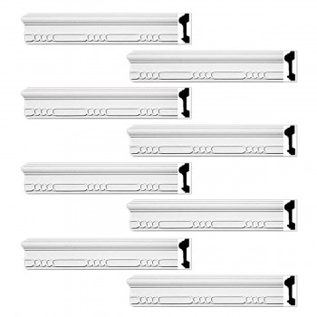 Renovators Supply Crown Molding White Urethane Sinclair Ornate Design 8 Pieces Totaling 752 Length White PrePrimed Urethane Crown Cornice Molding Cornice Crown Home Depot Ekena Millwork Molding Wall Ceiling Corner Cornice Crown Cove Molding