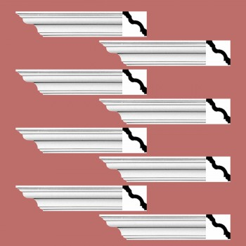 <PRE>Renovator's Supply Cornice White Urethane Hopewell Simple Design 8 Pieces Totaling 768inch Length</PRE>zoom2