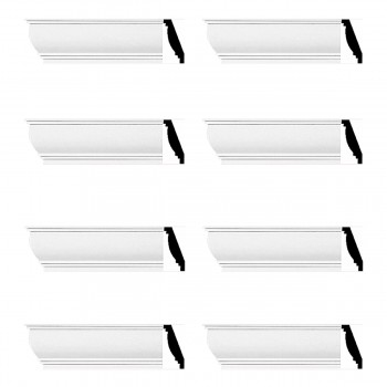 Renovators Supply Cornice White Urethane Waterbury Simple Design 8 Pieces Totaling 752 Length White PrePrimed Urethane Crown Cornice Molding Cornice Crown Home Depot Ekena Millwork Molding Wall Ceiling Corner Cornice Crown Cove Molding