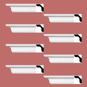 Renovators Supply Cornice White Urethane New Britain Simple Design 8 Pieces Totaling 752 Length White PrePrimed Urethane Crown Cornice Molding Cornice Crown Home Depot Ekena Millwork Molding Wall Ceiling Corner Cornice Crown Cove Molding