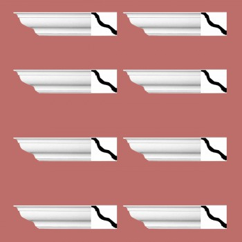 "spec-<PRE> Cornice White Urethane Kensinton Design 8 Pieces Totaling 752"" Length</PRE>"