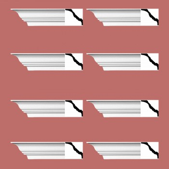Renovators Supply Cornice White Urethane Princess Anne Simple Design 8 Pieces Totaling 752 Length White PrePrimed Urethane Crown Cornice Molding Cornice Crown Home Depot Ekena Millwork Molding Wall Ceiling Corner Cornice Crown Cove Molding