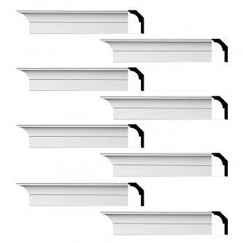 Renovators Supply Cornice White Urethane Waldorf Simple Design 8 Pieces Totaling 752 Length White PrePrimed Urethane Crown Cornice Molding Cornice Crown Home Depot Ekena Millwork Molding Wall Ceiling Corner Cornice Crown Cove Molding