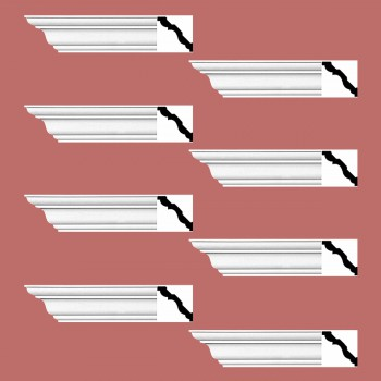 <PRE>Renovator's Supply Cornice White Urethane Montmarnes Simple Design 8 Pieces Totaling 752inch Length</PRE>zoom2