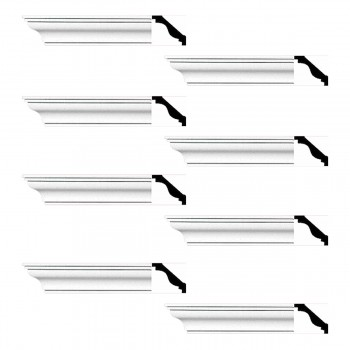 Renovators Supply Cornice White Urethane Pleasance Simple Design 8 Pieces Totaling 768 Length White PrePrimed Urethane Crown Cornice Molding Cornice Crown Home Depot Ekena Millwork Molding Wall Ceiling Corner Cornice Crown Cove Molding