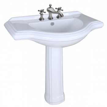 White Porcelain Large Pedestal Sink with Faucet, Drain and P Trap81934grid