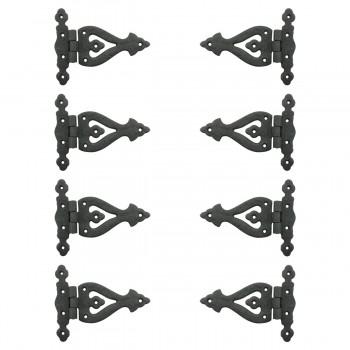 5 3/8 Inch Black Wrought Iron Door Hinge RSF Finish Barn Door Hinges Pack of 8