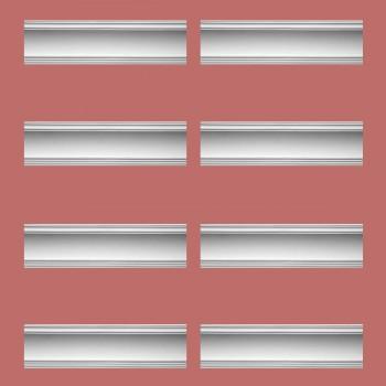 """spec-<PRE>Renovator's Supply Cornice White Urethane Golder Design 8 Pieces Totaling 760"""" Length</PRE>"""