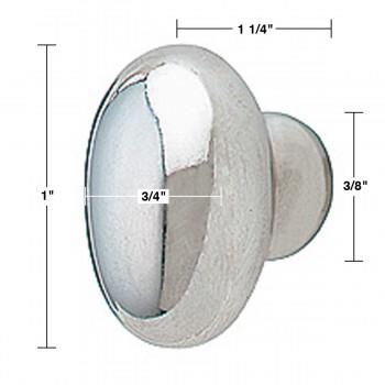 spec-<PRE>6 Cabinet Knob Bright Chrome Plated Oval  </PRE>