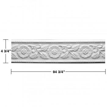 "spec-<PRE> Cornice White Urethane Leaf Design 8 Pieces Totaling 752"" Length</PRE>"