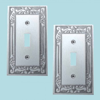 spec-<PRE>2 Switch Plates Chrome-plated Brass Victorian Style Set of 2 </PRE>