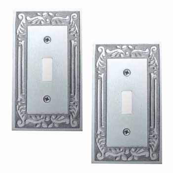 <PRE>2 Switch Plates Chrome-plated Brass Victorian Style Set of 2 </PRE>zoom1