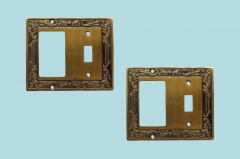 <PRE>2 Victorian Switch Plate Toggle GFI Antique Solid Brass </PRE>zoom2