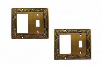<PRE>2 Victorian Switch Plate Toggle GFI Antique Solid Brass </PRE>zoom1
