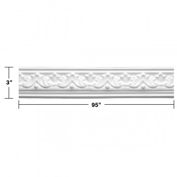 "spec-<PRE>  Ornate Cornice White Urethane Design 8 Pieces Totaling 760"" Length</PRE>"