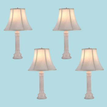 <PRE>4 Table Lamp White Alabaster Pillar Beige Shade 22inchH </PRE>zoom2