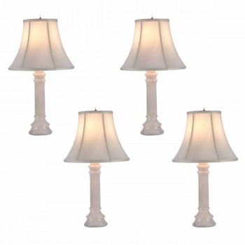 <PRE>4 Table Lamp White Alabaster Pillar Beige Shade 22inchH </PRE>zoom1