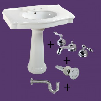 White Pedestal Sink with 8 Widespread Faucet, Overflow and PTrap Widespread Pedestal Sink Modern Bathroom Pedestal Sink Classic Bathroom Sinks