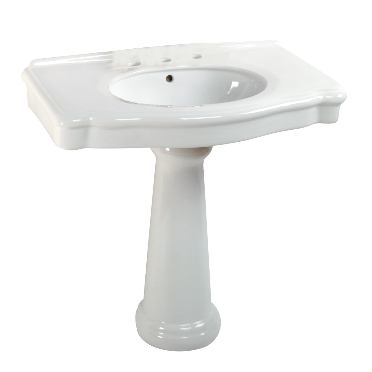 """White Pedestal Sink with 8"""" Widespread Faucet, Overflow ..."""