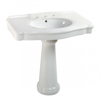 <PRE>White Pedestal Sink with 8inch Widespread Faucet, Overflow and P-Trap</PRE>zoom5