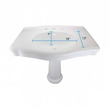 "spec-<PRE>White Pedestal Sink with 8"" Widespread Faucet, Overflow and P-Trap</PRE>"