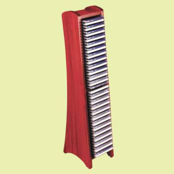 spec-<PRE>Wood Media Organizer/CD Tower - Cherry Finish - Modular - 50 CDs </PRE>