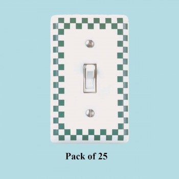 <PRE>25 Porcelain Switch Plate White/Green Checkered  Single Toggle</PRE>zoom2