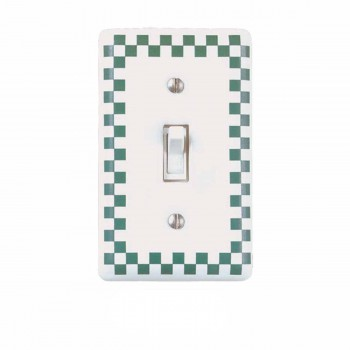 <PRE>25 Porcelain Switch Plate White/Green Checkered  Single Toggle</PRE>zoom1