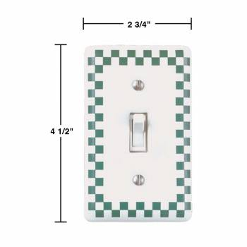spec-<PRE>25 Porcelain Switch Plate White/Green Checkered  Single Toggle</PRE>
