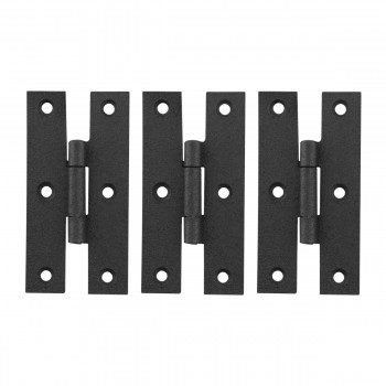 Cabinet Hinge Black Wrought Iron H Hinges Flush 3 Height  3 Pack Rensup