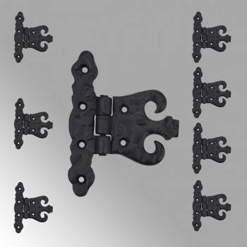Wrought Iron Cabinet Hinge Black Rustproof Pack of 8