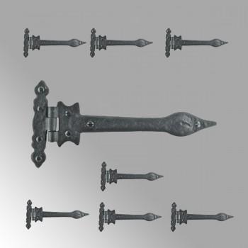 Black Wrought Iron Door Strap Hinge Spear Tip 9