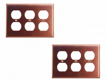2 Switchplate Brushed Solid Copper Triple Outlet Switch Plate Wall Plates Switch Plates