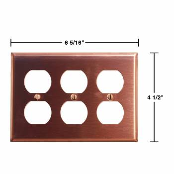 spec-<PRE>2 Switchplate Brushed Solid Copper Triple Outlet </PRE>