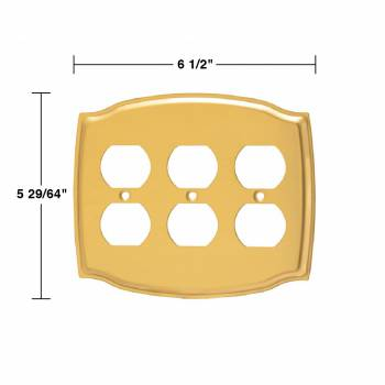 spec-<PRE>2 Switchplate Bright Solid Brass Triple Outlet </PRE>
